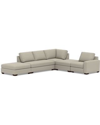 Big Sur Square Arm Upholstered Right Arm 5-Piece Modular Sectional with Loveseat and Bench Cushion, Down Blend Wrapped Cushions, Chenille Basketweave Pebble