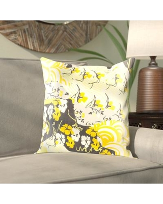 """Bloomsbury Market Alois Floral Silk Throw Pillow BBMT9407 Size: 18"""" H x 18"""" W x 0.25"""" D Color: Yellow"""