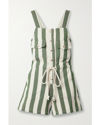 MIGUELINA - Franca Button-embellished Striped Cotton-twill Playsuit - Green
