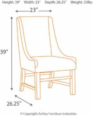Signature Design Sommerford Dining Upholstered Arm Chair Set Of 2 Ashley Furniture D775