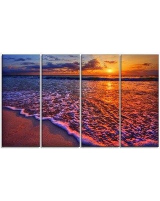 Design Art 'Colorful Sunset and Wavy Waters' 4 Piece Photographic Print on Wrapped Canvas Set PT14431-271