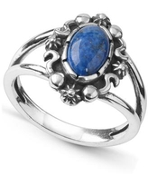 American West by Carolyn Pollack Sterling Silver Gemstone Oval Ring in Denim Lapis or Green Turquoise - Lapis/Silver