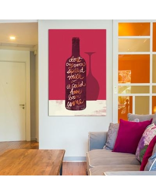 """East Urban Home Don't Cry Over Spilled Milk Textual Art on Wrapped Canvas ESHM6643 Size: 12"""" H x 18"""" W x 1.5"""" D"""