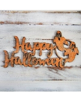 "aMonogramArtUnlimited Happy Halloween with Ghost Wooden Holiday Wall Decor 91133 Color: Orange Size: 24"" W"