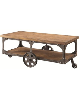 BM184887 Industrial Style Solid Wooden Coffee Table With Metal Accents & Wheels