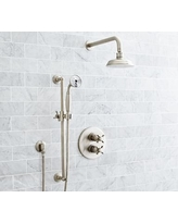 Reyes Thermostatic Cross-Handle Hand-Held Shower Faucet Set, Satin Nickel Finish