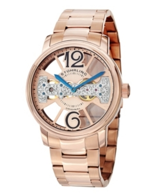 Stuhrling Stainless Steel Rose Tone Case on Link Bracelet, Rose Tone Skeletonized Dial with Exposed Bridge Movement, with Blue and Black Accents