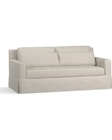 """York Square Arm Slipcovered Deep Seat Sofa 79"""" with Bench Cushion, Down Blend Wrapped Cushions, Performance Heathered Tweed Pebble"""