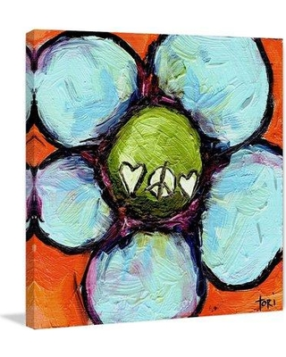 """Marmont Hill 'Peace + Heart Flower' by Tori Campisi Painting Print on Wrapped Canvas MH-TORI-432-C- Size: 40"""" H x 40"""" W x 1.5"""" D"""