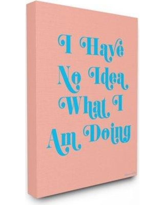 """Ebern Designs 'lulusimonStudio No Idea What I Am Doing Typography' Graphic Art Print W000744090 Format: Wrapped Canvas Size: 20"""" H x 16"""" W x 1.5"""" D"""
