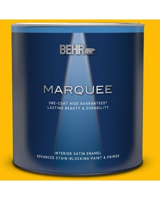 BEHR MARQUEE 1 qt. #340B-7 Empire Yellow Satin Enamel Interior Paint & Primer