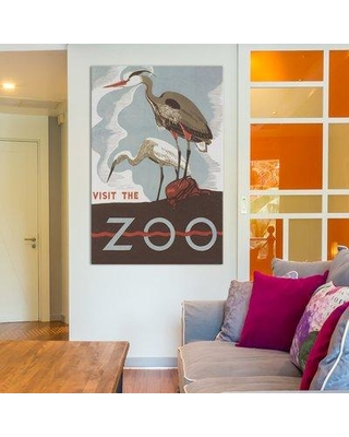 "East Urban Home 'Visit the Zoo (Herons)' Graphic Art on Wrapped Canvas ESTN7322 Size: 18"" H x 12"" W x 1.5"" D"