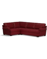 Townsend Roll Arm Leather Right Arm 3-Piece Corner Sectional, Polyester Wrapped Cushions, Leather Signature Berry Red