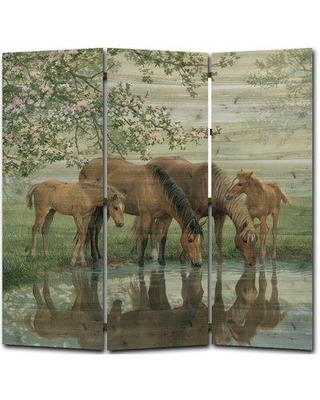 Millwood Pines Nome Sweet Spring Horses 3 Panel Room Divider ST-TTI-7979