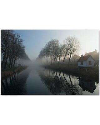 "Trademark Art 'Mist Across The Canal' Photographic Print on Wrapped Canvas 1X01751-C Size: 16"" H x 24"" W"