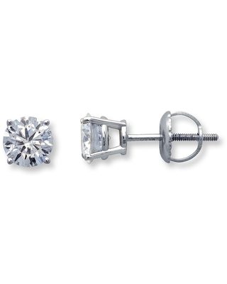 Diamond Solitaire Earrings 1 ct tw Round-cut 14K White Gold