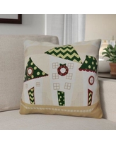 "The Holiday Aisle Decorative Holiday Geometric Print Throw Pillow HLDY1540 Size: 20"" H x 20"" W, Color: Green"