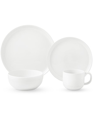 Le Creuset Coupe 16-Piece Dinnerware Set with Cereal Bowl, White