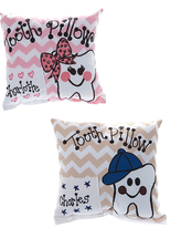 Bunnies and Bows Throw Pillows - Tan & Pink Chevron Personalized Tooth Fairy Throw Pillow Set