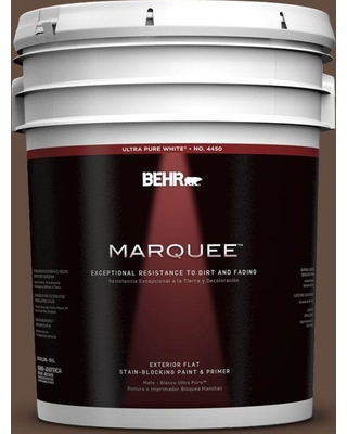 BEHR MARQUEE 5 gal. #760B-7 Revival Mahogany Flat Exterior Paint and Primer in One