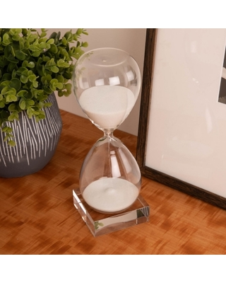 Bey-Berk 60 Minute Crystal Sand Timer on Crystal Base with White Sand, White