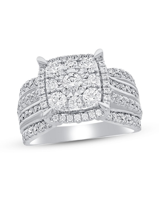 Diamond Engagement Ring 2 ct tw Round-cut 10K White Gold