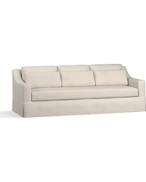 """York Slope Arm Slipcovered Deep Seat Grand Sofa 95"""" with Bench Cushion, Down Blend Wrapped Cushions, Performance Twill Stone"""