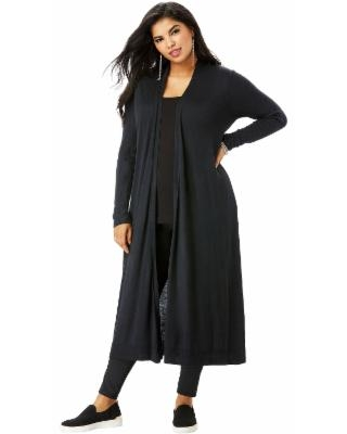 Plus Size Women's Fine Gauge Duster Cardigan Sweater With Shawl Collar by Roaman's in Black (Size L)