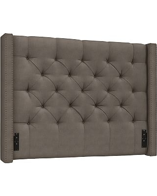 Harper Upholstered Tufted Low Headboard with Bronze Nailheads, Full, Performance Heathered Tweed Graphite