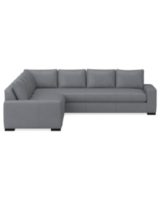 Robertson Sectional, Left 2-Piece L-Shape Sofa, Standard Cushion, Italian Distressed Leather, Iron