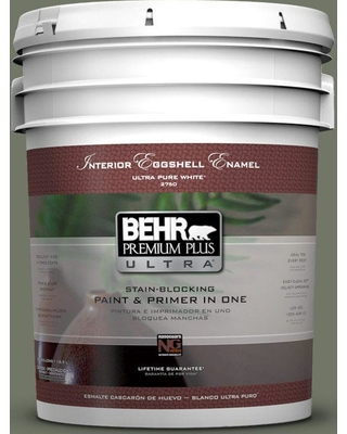 BEHR Premium Plus Ultra 5 gal. #PPU10-19 Conifer Green Eggshell Enamel Interior Paint and Primer in One