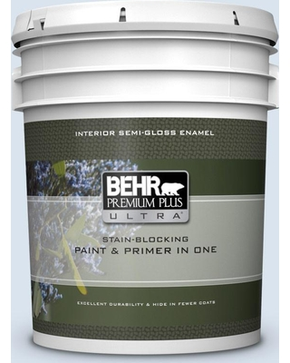 BEHR Premium Plus Ultra 5 gal. #590A-1 Icelandic Semi-Gloss Enamel Interior Paint and Primer in One