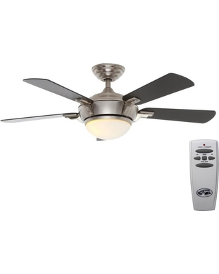 Hampton Bay Hampton Bay Midili 44 in  LED Indoor Brushed Nickel Ceiling Fan  with Light Kit and Remote Control from Home Depot | BHG com Shop
