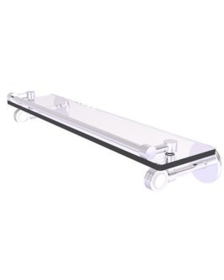 Allied Brass Clearview Collection Gallery Rail Glass Shelf with Dotted Accents (Satin Chrome - 22 Inch)