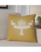 """The Holiday Aisle Thanksgiving Indoor/Outdoor Throw Pillow HLDY1199 Size: 20"""" H x 20"""" W x 4"""" D, Color: Yellow/White"""