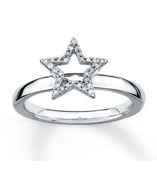 Stackable Diamond Ring 1/10 ct tw Round-cut Sterling Silver