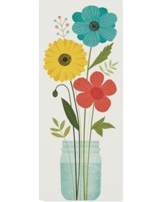 """August Grove 'Seaside Bouquet V Mason Jar No Word' Graphic Art Print on Wrapped Canvas AUGV1744 Size: 47"""" H x 20"""" W x 2"""" D"""