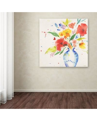 """Trademark Fine Art """"Vibrant Bouquet"""" by Sheila Golden Painting Print on Wrapped Canvas SG5724-C Size: 14"""" H x 14"""" W x 2"""" D"""