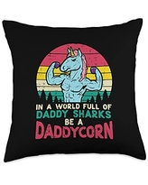 Best Dad Pillows Husband Birthday Fathers Day Gift World Full Daddy Sharks Be Daddycorn Retro Fathers Day Dad Throw Pillow, 18x18, Multicolor