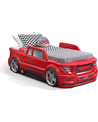 Step2 Turbocharged Twin Truck Kids Bed, Red