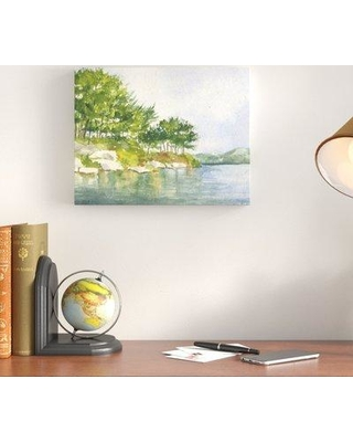 Charlton Home® Breeze on the Lake 'Harriman Park' - Watercolor Painting Print, Format: Wrapped Canvas, Canvas & Fabric/Paper in Blue/Orange/Green