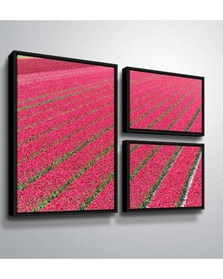 """Winston Porter 'Neon Pink Tulip Fields' Photographic Print Multi-Piece Image on Canvas BI207784 Size: 24"""" H x 36"""" W x 2"""" D Format: Floater Framed Flag"""