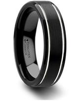 THORSTEN - NOCTURNE Beveled Black Tungsten Carbide Band with Brushed Finish and Polished Grooves - 6mm