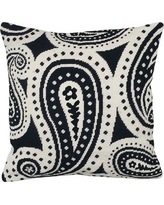 123 Creations Paisley Needlepoint Wool Throw Pillow C8.18x18 Color: Black