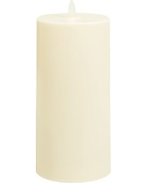 """Premium Flickering Flameless Wax Candle, 4 x 8"""", Ivory"""