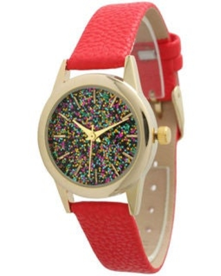 Olivia Pratt Women's Petite Sparkly Dial Leather Watch (Red)