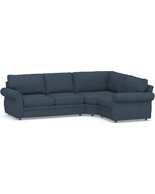 Pearce Roll Arm Upholstered Left Arm 3-Piece Wedge Sectional, Down Blend Wrapped Cushions, Performance Heathered Tweed Indigo