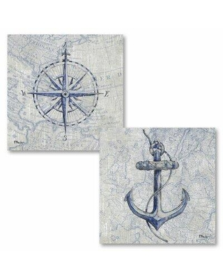 """Breakwater Bay 'Vintage Nautical I and II' 2 Piece Graphic Art Print Set CG238931 Size: 16"""" H x 16"""" W x 0.01"""" D Format: Paper"""
