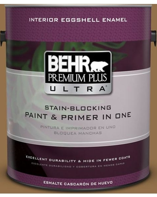 BEHR Premium Plus Ultra 1 gal. #N280-7 Brass Button Eggshell Enamel Interior Paint and Primer in One