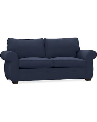 Pearce Roll Arm Upholstered Sleeper Sofa with Robin Mattress, Polyester Wrapped Cushions, Brushed Crossweave Navy